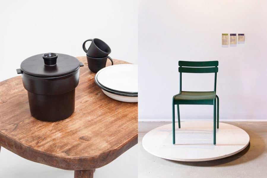 Pot Double, conçu par le studio Bouchée double, fabriqué par la poterie Siegfried-Burger et fils de Soufflenheim. Luxembourg, chaise conçue par Frédéric Sofia, éditée et fabriquée par Fermob.
