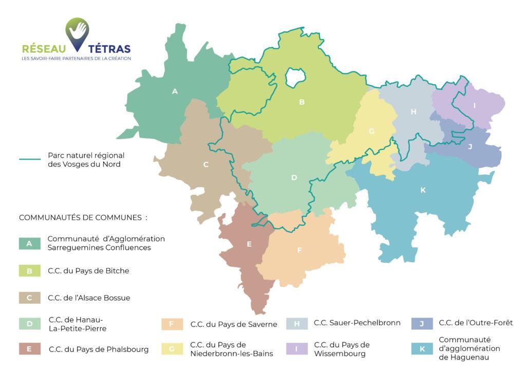 Carte avec légende du territoire géographique du Réseau Tétras des savoir-faire des Vosges du Nord